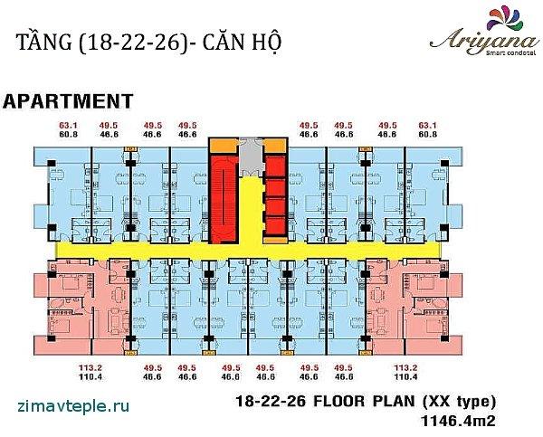 общий план здания с квартирами в Арияна нячанг