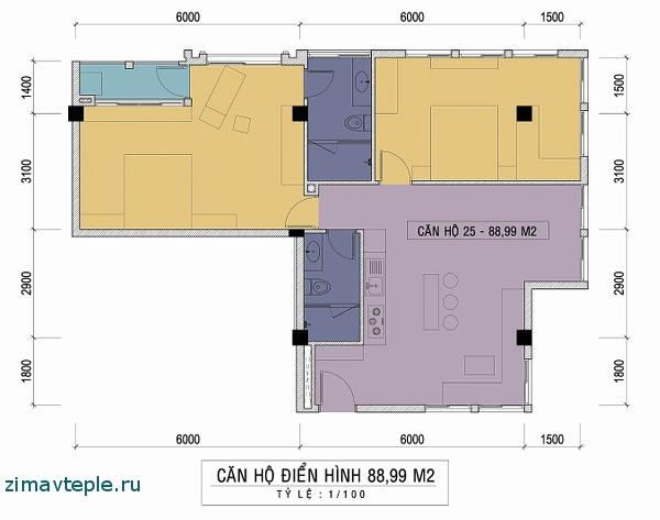 квартира с двумя спальнями план
