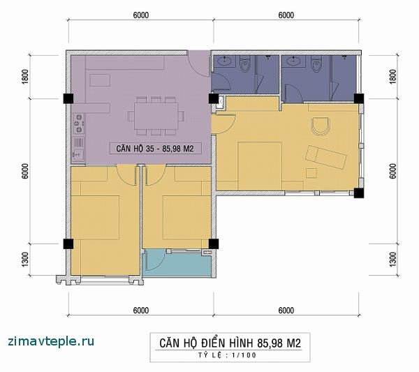 квартира три спальни план