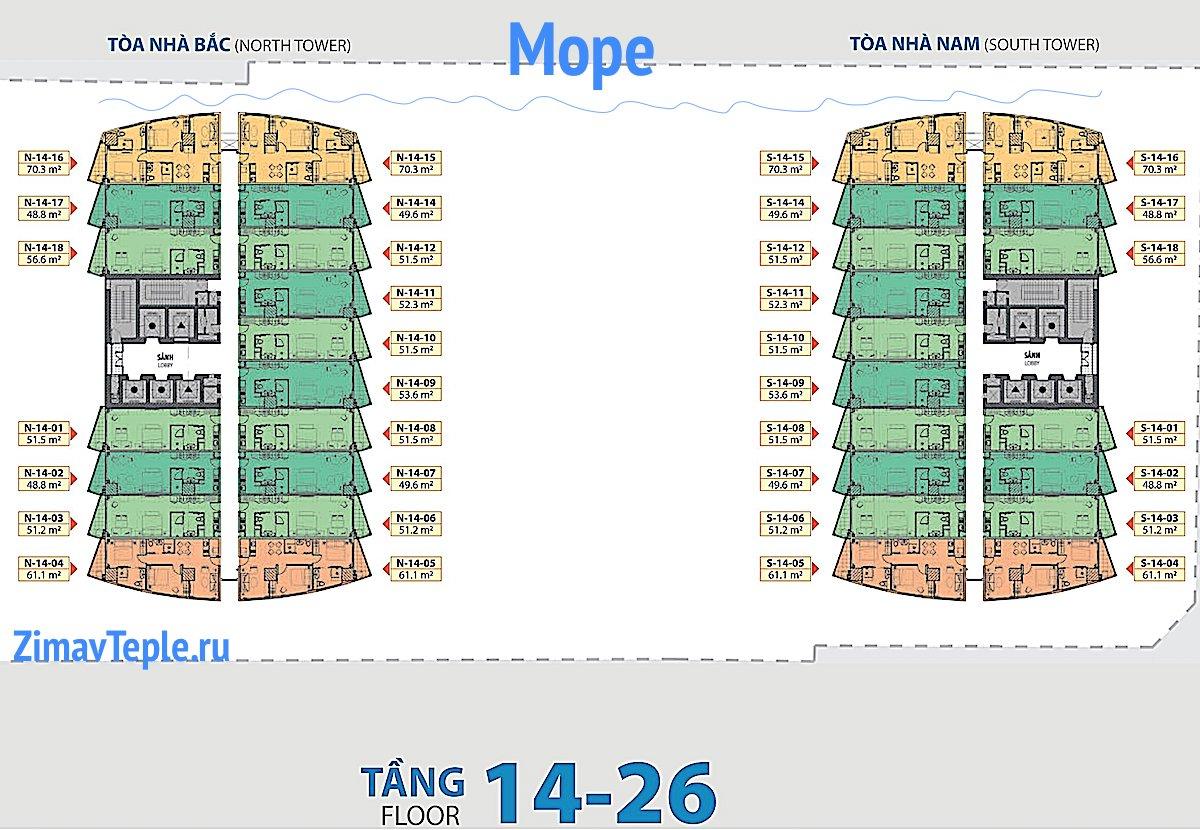 План квартир на 14-26 этажах Голд Кост Нячанг