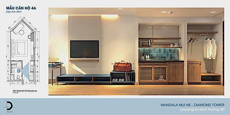 3D дизайн квартиры студио в Апек Мандала Виндхам Муйне Вьетнам