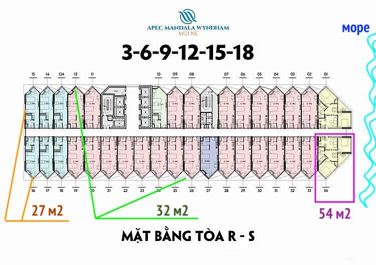 План этажей в башнях Сапфир и Руби в Муйне Апек Вьетнам